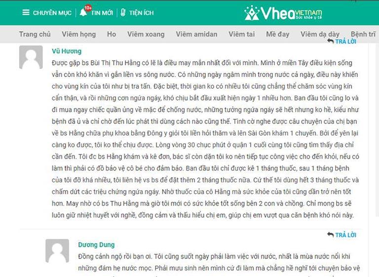 Một số phản hồi của bệnh nhân viêm âm đạo về thuốc Phụ Khang tán do Lương y Thu Hằng kê đơn
