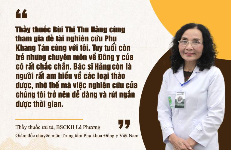 Thầy thuốc ưu tú Lê Phương đánh giá cao chuyên môn của Lương y Thu Hằng