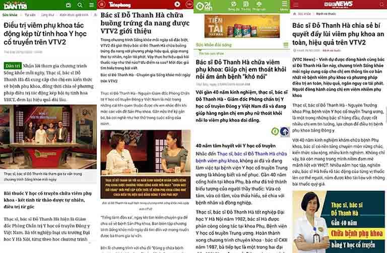 Bác sĩ Đỗ Thanh Hà được nhiều báo, đài, tạp chí uy tin đưa tin
