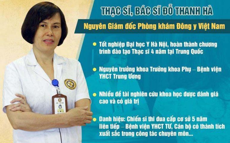 Bác sĩ Đỗ Thanh Hà - chuyên gia trong lĩnh vực YHCT được nhiều chị em tin tưởng lựa chọn trong việc hỗ trợ điều trị viêm âm đạo