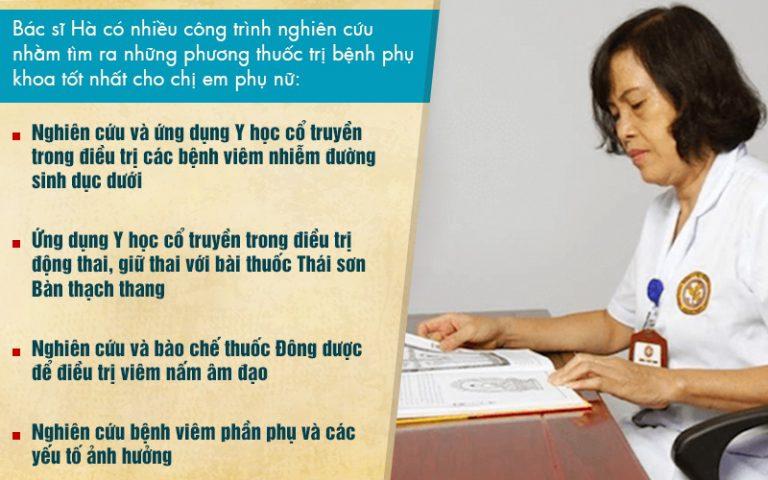 Thạc sĩ, bác sĩ Đỗ Thanh Hà có nhiều công trình nghiên cứu nhằm tìm ra phương thuốc trị bệnh viêm phụ khoa tốt nhất cho chị em phụ nữ