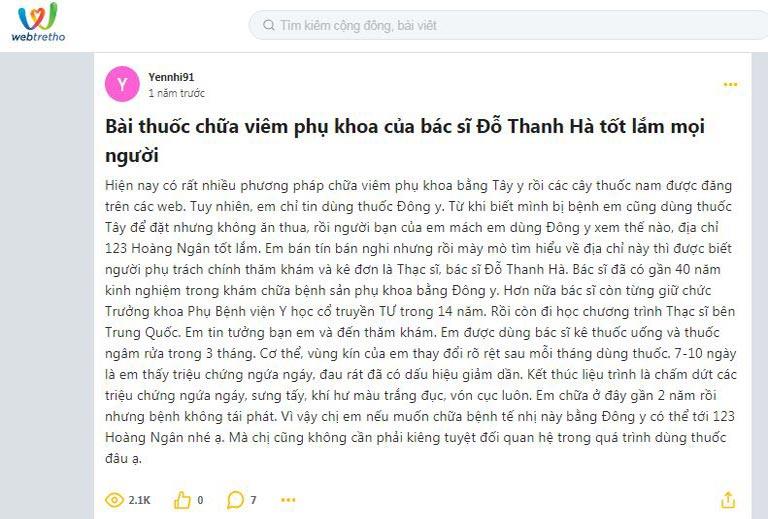 Những lời khen tới bài thuốc của bac sĩ Đỗ Thanh Hà