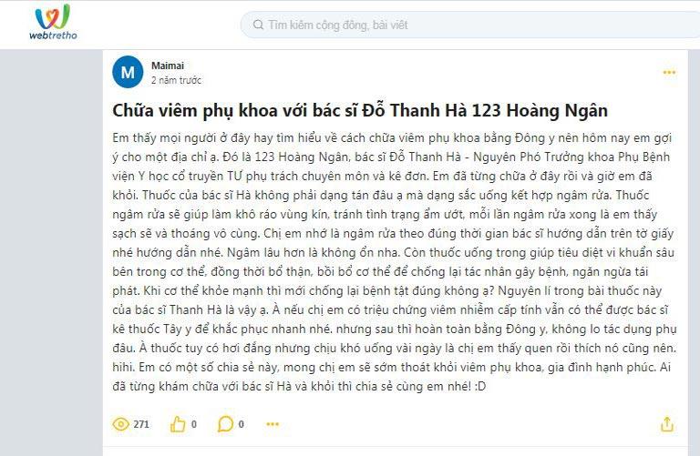 Phản hồi của người bệnh về bài thuốc của bác sĩ Đỗ Thanh Hà