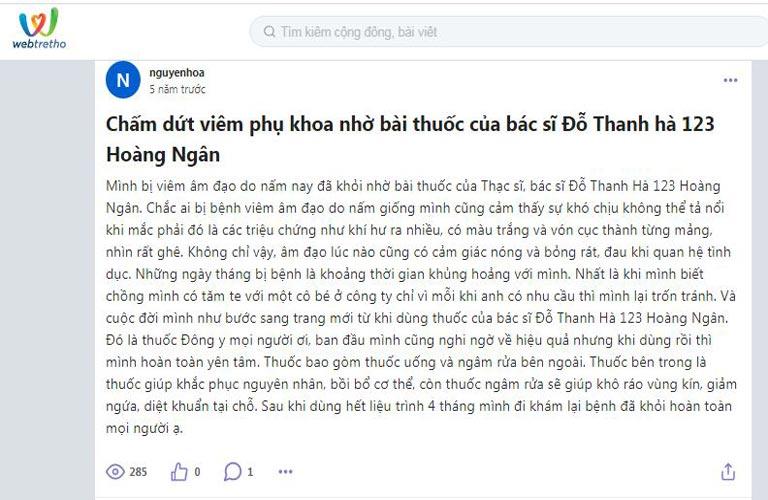 Phản hổi của bệnh nhân về bài thuốc của bác sĩ Đỗ Thanh Hà