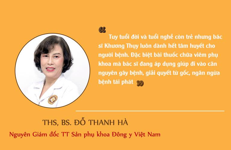 Đánh giá chân thành từ Thạc sĩ, bác sĩ Đỗ Thanh Hà về bác sĩ Khương Thụy