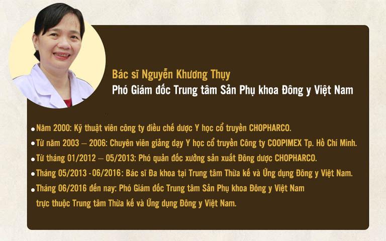 Bác sĩ Nguyễn Khương Thụy rất giàu kinh nghiệm trong khám chữa bệnh phụ khoa
