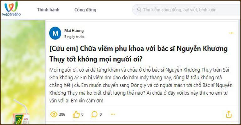 Chị em tại nhiều diễn đàn có topic liên quan đến bác sĩ Nguyễn Khương Thụy