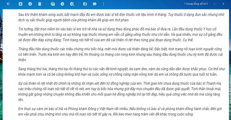 Trích phản hồi từ thư gửi Phòng khám Đông y của chị Huyền Trang